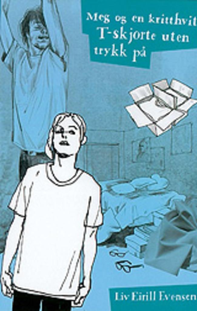 Meg og en kritthvit t-skjorte uten trykk på