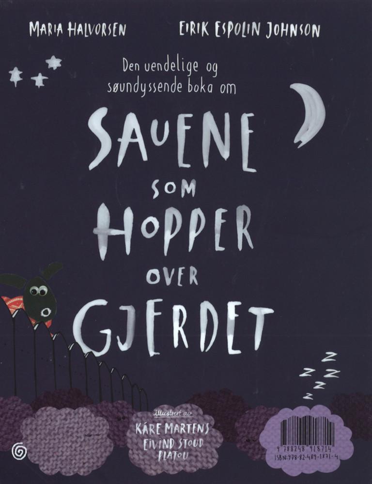 Illustrasjonsbilde for omtalen av Den uendelige og søvndyssende boka om sauene som hopper over gjerdet av Maria Halvorsen, Eirik Espolin Johnson
