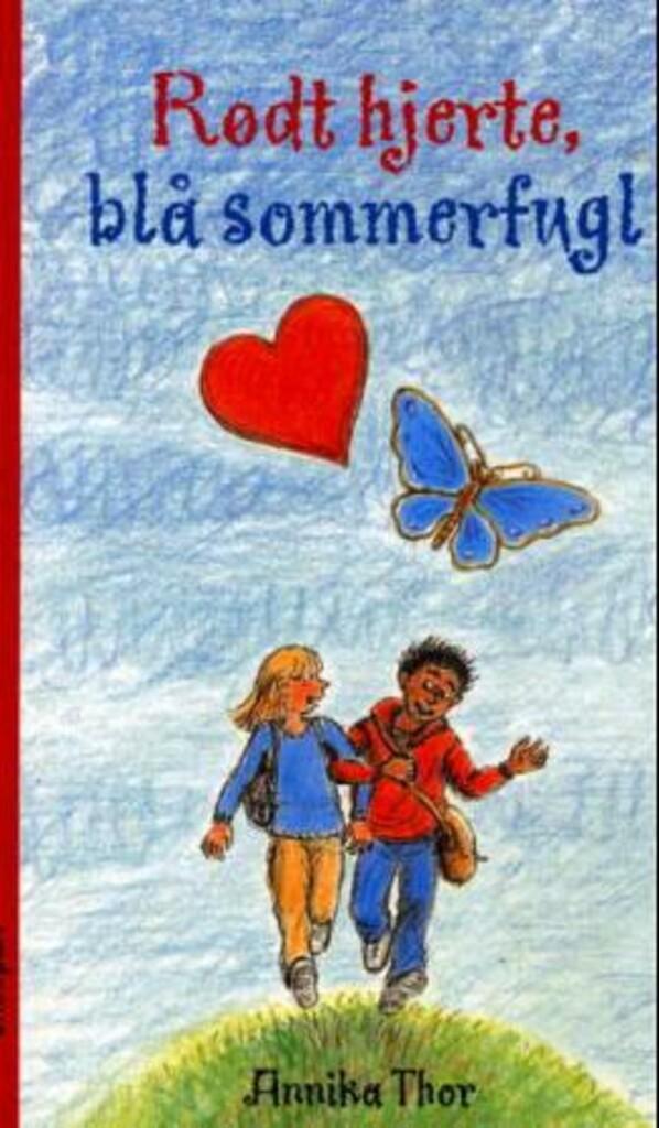 Rødt hjerte, blå sommerfugl